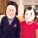 Cute kids with masks from Kurukuru Bunko